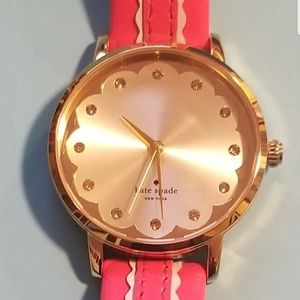 Kate Spade pink gold leather watch